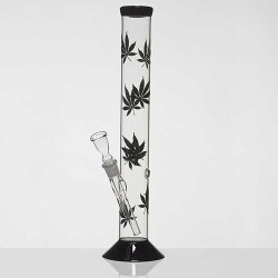 Glass bong | straight | black weed leaves | 42 cm