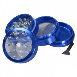 weed grinder | 4 part | Blue | Aluminium |  Ø 50mm|clear view