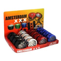weed grinder | 2 part | Amsterdam | Push Up | Aluminium |  Ø 50mm