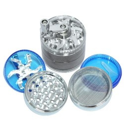weed mill grinder | 4 part | Silver / blue | Acrylic |  Ø 63mm